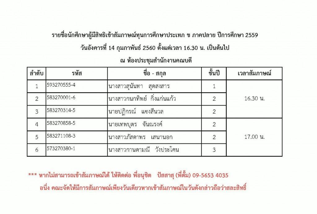 170206 รายชื่อนักศึกษาผูัมีสิทธิเข้าสัมภาษณ์ทุนการศึกษา ประเภท ข ภาคปลาย ปีการศึกษา 2559