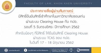 ประกาศรายชื่อผู้ผ่านสัมภาษณ์ มีสิทธิ์ยืนยันสิทธิ์เข้าศึกษาในมหาวิทยาลัยขอนแก่น รอบที่ 5 (รับตรงอิสระ)